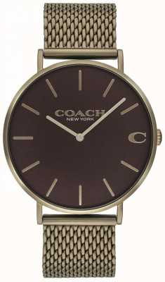 Coach Mens Charles Bronze Mesh Bracelet Watch 14602147