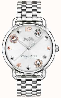 Coach Womens Delancey Watch Flower Markers Steel Bracelet 14502810
