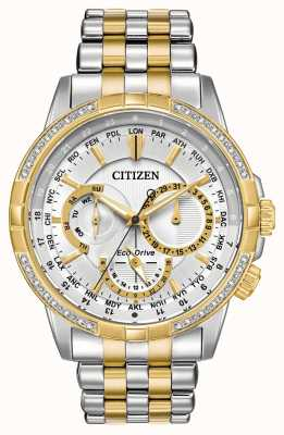 Citizen Mens Calendrier Eco-Drive Two Tone 32 Diamonds Silver Dial BU2084-51A