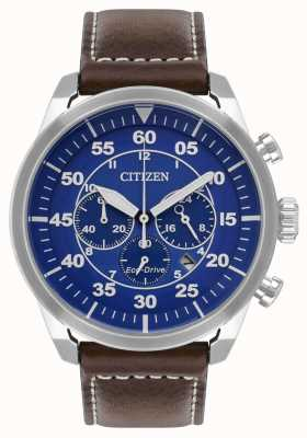 Citizen Mens Avion Eco-Drive Blue Dial Brown Leather Strap WR100 CA4210-41L
