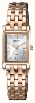 Citizen Womens Quartz Gold Plated Rectangular Case Silver Dial EJ6123-56A