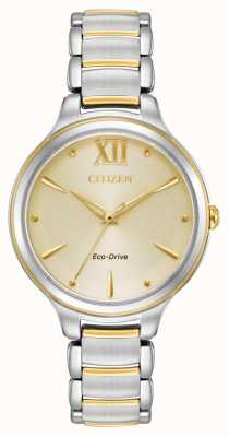 Citizen Womens E031 Eco-Drive Two Tone Champagne Dial EM0554-82X