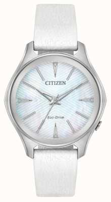 Citizen Womens Eco-Drive Silver Dial White Leather Strap EM0590-03D