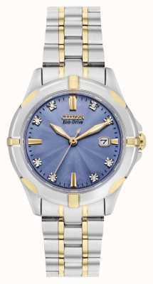 Citizen Womens Eco-Drive Two Tone Sport Diamond Blue Dial EW1936-53L