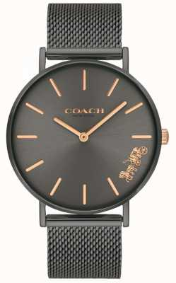 Coach Womens Perry Grey IP Steel Mesh Bracelet Watch 14503127