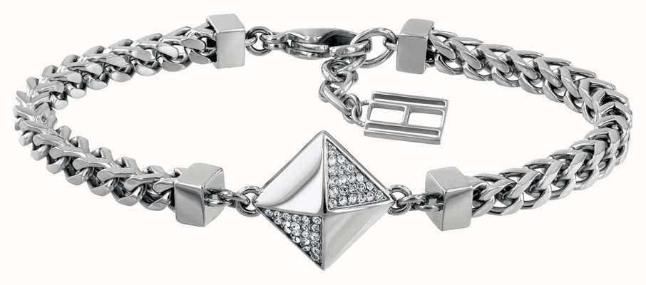 Tommy Hilfiger Stone Set Box Bracelet Silver Tone 2780093