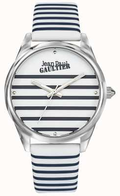 Jean Paul Gaultier Navy Women's Stripe Watch Leather Strap JP8502416