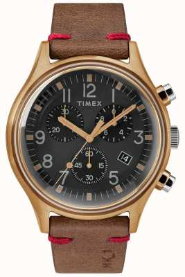 Timex Mens MK1 SST Chrono 42mm Bronze Case Black Dial Brown Strap TW2R96300