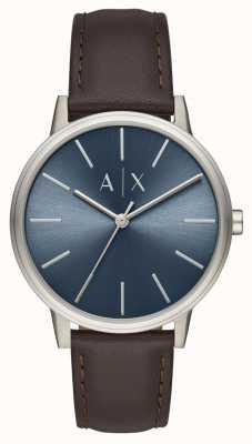 Armani Exchange Men's Watch Brown Leather Strap Blue Dial AX2704
