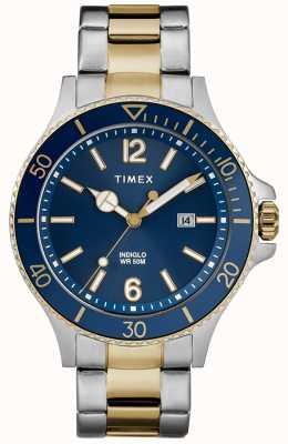 Timex Men's Harborside Two Tone Silver And Gold Bracelet Blue Dial TW2R64700D7PF