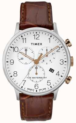 Timex Men's Waterbury Classic Chronograph Watch White Dial TW2R72100D7PF