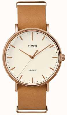 Timex Fairfield Brown Strap 3 Hand Watch TWF3C8160UK
