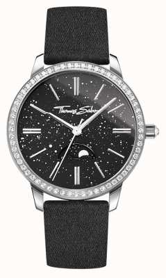 Thomas Sabo Womens Glam And Soul Moonphase Watch Black Leather Strap WA0327-209-203-33