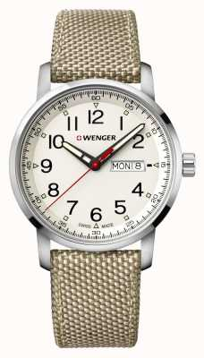 Wenger Mens Attitude Heritage 42mm Day Date Dial Beige Nylon Strap 01.1541.112