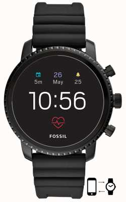 Fossil Fossil Q Gen 4 Explorist HR Black Silicone Smart Watch FTW4018