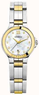 Michel Herbelin Ladies Newport Royale Two Tone Mother Of Pearl Diamond Dial 14298/BT89