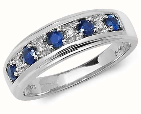 Treasure House 9k White Gold Diamond Sapphire Half Eternity Ring RD275WS