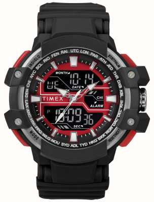 Timex Mens 50mm Black Case With Red Accent Black Strap TW5M22700
