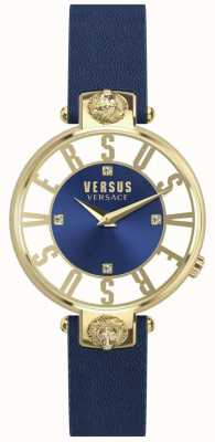 Versus Versace Womens Kristenhof Blue Dial Blue Leather Strap SP49020018