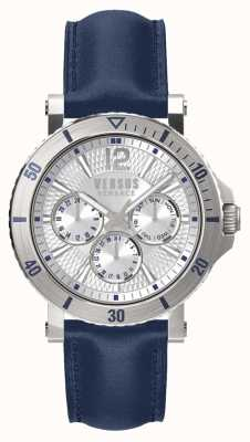 Versus Versace Mens Steenberg Silver Dial Blue Leather Strap SP52010018