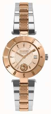 Versus Versace Womens Logo Rose Gold Dial Two Tone Bracelet SP77260018
