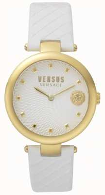 Versus Versace Womens Buffle Bay White Dial White Leather Strap SP87020018