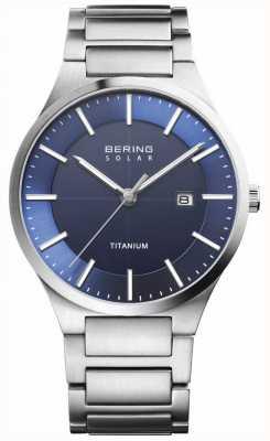 Bering Mens Solar Blue Face Silver Titanium Strap 15239-777