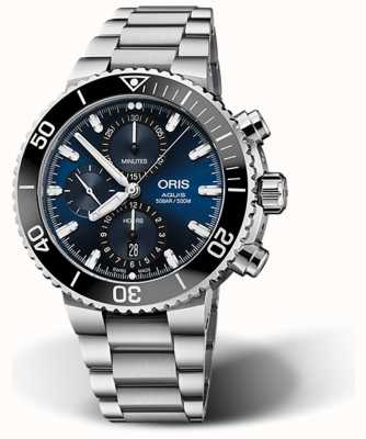 ORIS Aquis Date Chronograph Blue Dial Stainless Steel 01 774 7743 4155-07 8 24 05 PEB