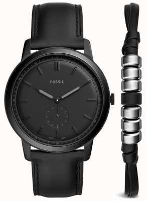 Fossil Mens Minimalist Watch Gift Set Black Leather Strap FS5500SET