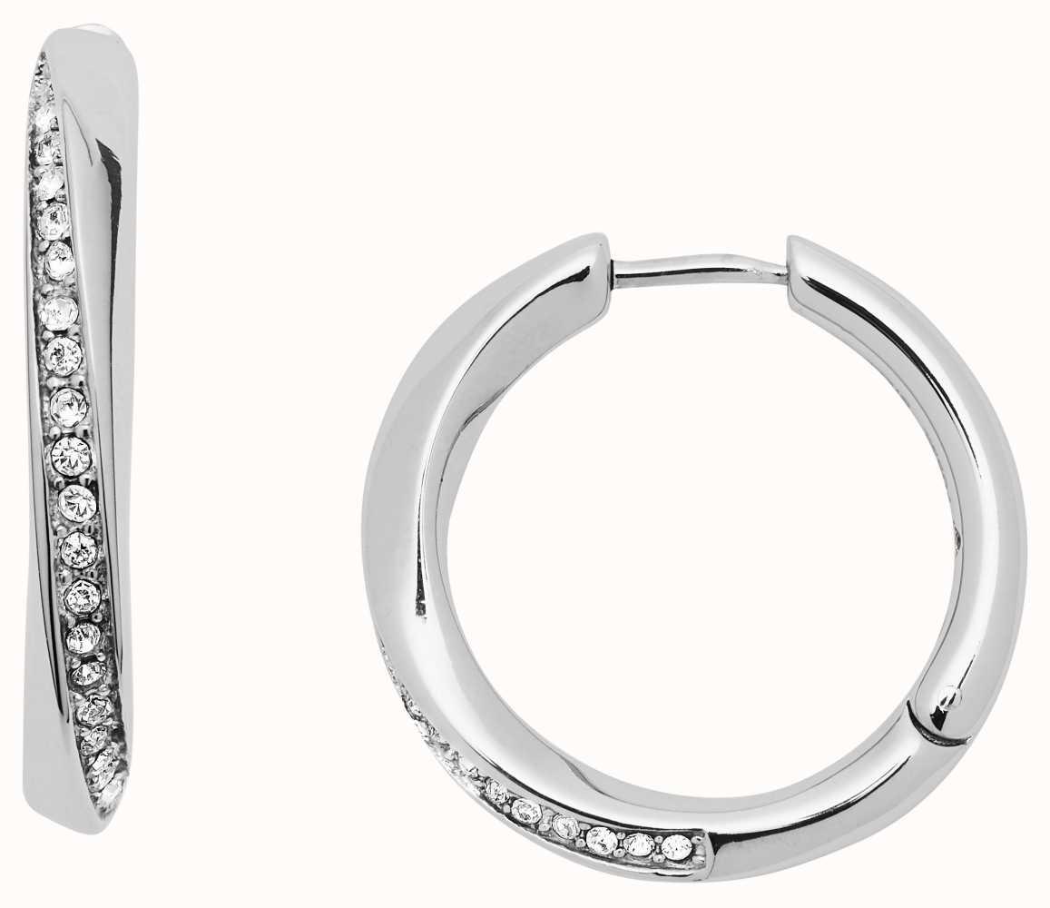d4e382126 Fossil Womens Stainless Steel Crystal Set Hoop Earrings JF03015040 ...