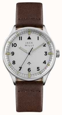 Jack Wills Mens Camperdown Silver Dial Brown Leather Strap JW001BRSS