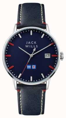 Jack Wills Mens Batson Blue Dial Blue Leather Strap JW002BLSS