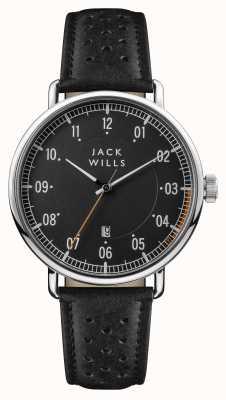 Jack Wills Mens Acland Black Dial Black Leather Strap JW003BKBK