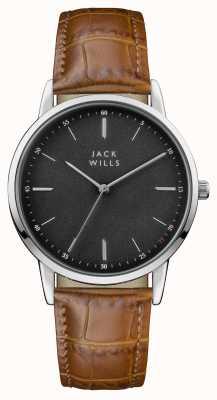 Jack Wills Mens Fortescue Black Dial Brown Leather Strap JW011BKBR