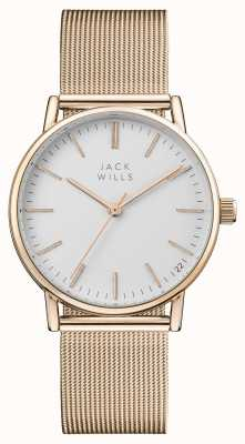 Jack Wills Womens Berry White Dial Rose Gold PVD Mesh Bracelet JW013RSRS
