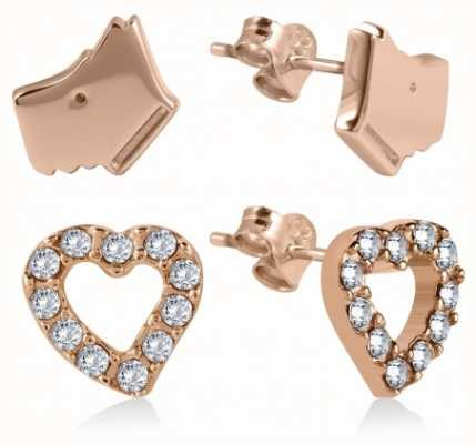 Radley Jewellery Rose Gold Stone Set Heart And Dog Head Earrings RYJ1036