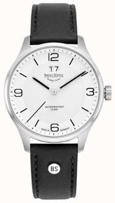 Bruno Sohnle Mens Padua | White Dial | Black Leather Strap 17-13199-961