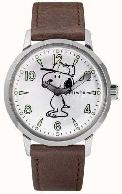 Timex Snoopy Welton Silver Dial Brown Leather Strap TW2R94900