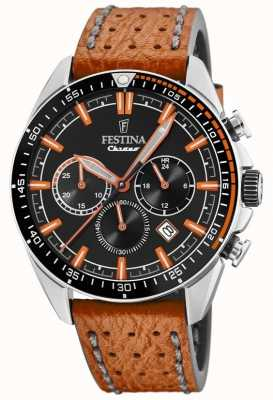 Festina Mens Chronograph Black Dial Orange Leather Strap F20377/4