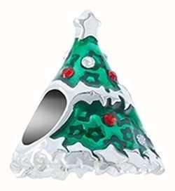 Chamilia Starstruck Christmas Tree Enamel Sterling Silver Charm Bead 2025-2541