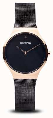 Bering Classic | Polished Black Rose Gold, Black Face 12131-166