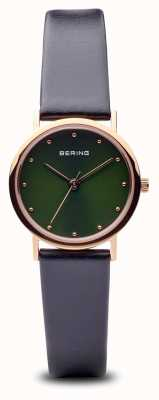 Bering Classic | Polished Rose Gold Black Strap Green Dial 13426-469