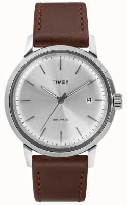 Timex Men's Automatic Brown Leather Strap Silver Dial TW2T22700