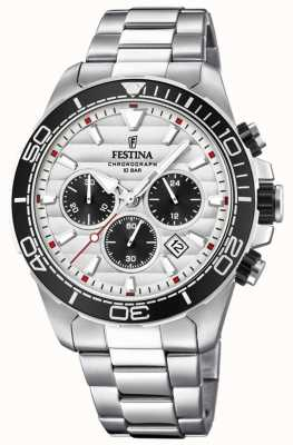 Festina Mens Stainless Steel Chronograph White-black Dial F20361/1