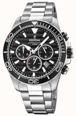 Festina Mens Stainless Steel Chronograph Black Dial F20361/4