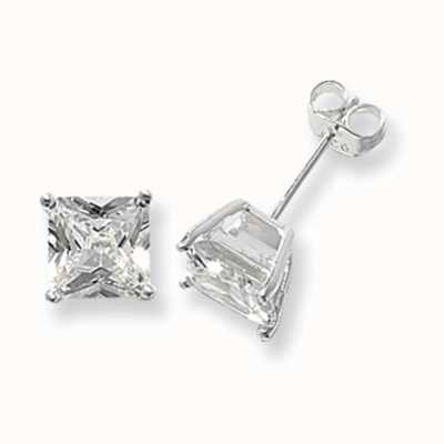 Treasure House Silver Square Cubic Zirconia Stud Earrings 7 mm G5146CZ