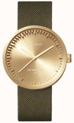Leff Amsterdam Tube Watch D38 | Cordura Brass | Green Strap LT71024