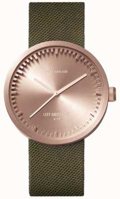 Leff Amsterdam Tube Watch D38 | Cordura Rose Gold | Green Strap LT71034
