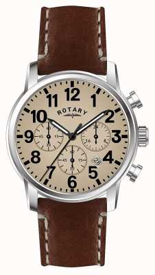Rotary Mens Chronograph Quartz Leather Strap white dial GS00430/31