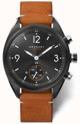 Kronaby Men's Apex 41 Bluetooth Black Dial, Brown Leather A1000-3116 S3116/1